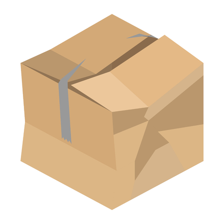Crushed and damaged isometric vector cardboard packaging box with broken tape Banco de Imagens - 119545243