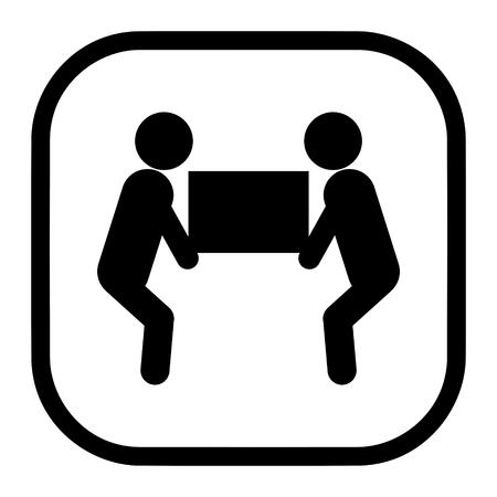 Vector de icono de símbolo de elevación pesada de dos personas para el concepto de embalaje Ilustración de vector