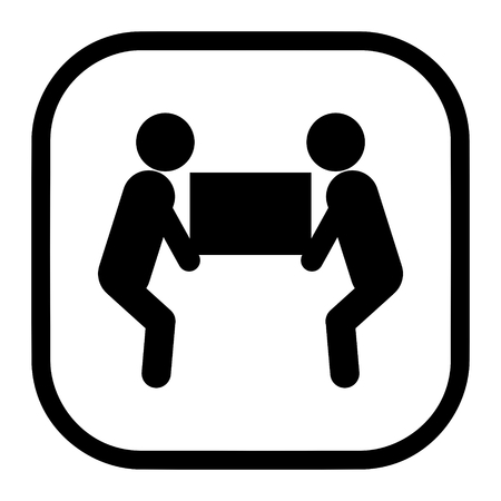 Vettore dell'icona del simbolo dell'ascensore di due persone per il concetto di imballaggio Vettoriali