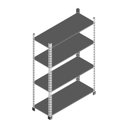 Empty metal storage rack shelves in isometric vector design Vectores