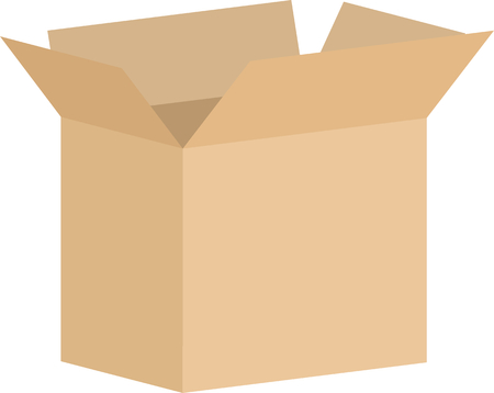 Cardboard box vector with flaps open in flat design style