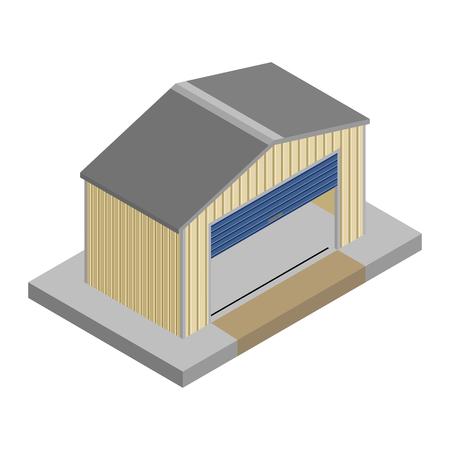 Empty storage unit with the roller door open in isometric vector design Ilustrace