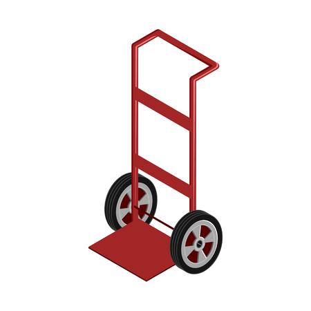 Moving dolly or hand truck in red isometric vector design Vektoros illusztráció