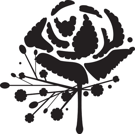 Classic carnation buttonhole flower or boutonniere silhouette vector
