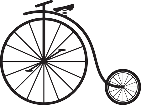 Classic vintage penny farthing bicycle vector Иллюстрация