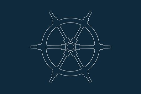 Line drawing vector of a ship or boat wheel on blue