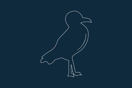 Line drawing vector of a seagull on blue