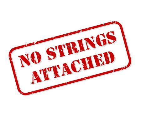Aucune chaîne attachée vecteur de tampon en caoutchouc rouge isolé