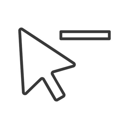 Computer mouse cursor symbol with a minus or subtract icon in vector Illustration