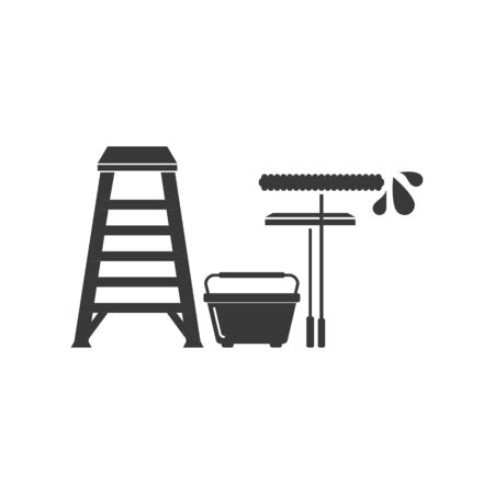Window cleaning or washing tools icon including ladder, bucket, squeegee and applicator in vector