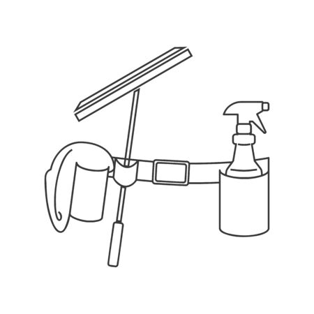 Window cleaning or washing belt icon in vector line drawing