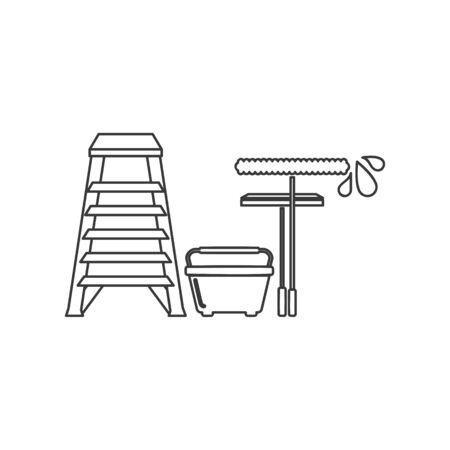 Window cleaning or washing tools icon including ladder, bucket, squeegee and applicator in vector line drawing Иллюстрация