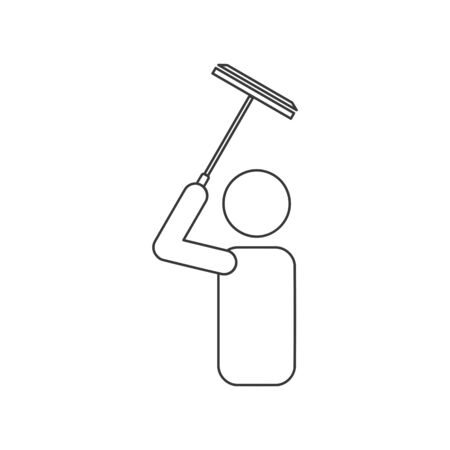 Window cleaner or washer icon in vector line drawing