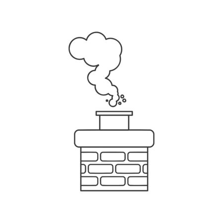 Chimney smoke icon for chimney sweep concept in vector line drawing Illustration