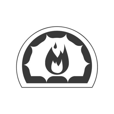 Hearth icon with fire in vector