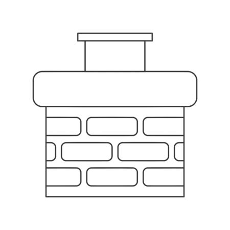 Chimney icon made of bricks in vector line drawing