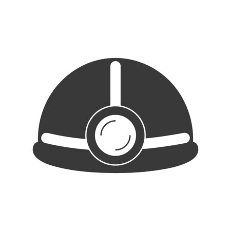 Hard hat or helmet with light icon in vector