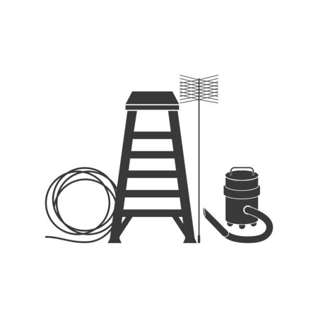 Various tools used by chimney sweepers in vector