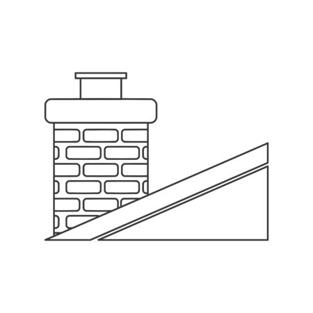 Classic brick chimney on slanted roof in vector line drawing