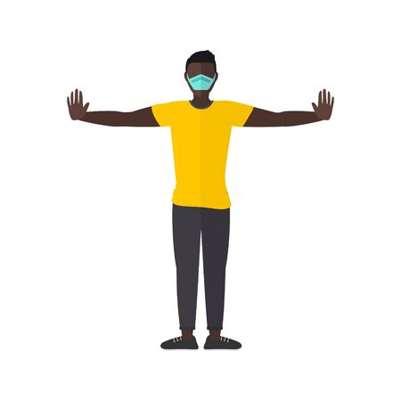 A man stands with arms stretched out to maintain social distancing while wearing a mask for COVID-19 coronavirus prevention
