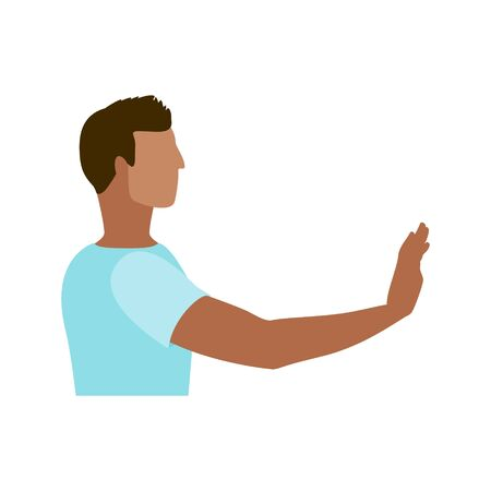 Man with his hand out in a stop gesture to stop the spread of COVID-19 coronavirus disease concept vector