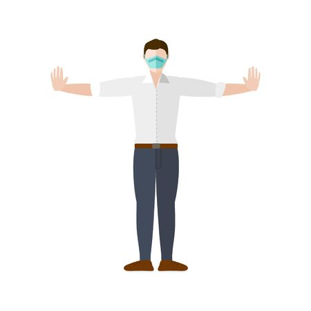A man stands with arms stretched out to maintain social distancing while wearing a mask for COVID-19 coronavirus prevention Vektoros illusztráció
