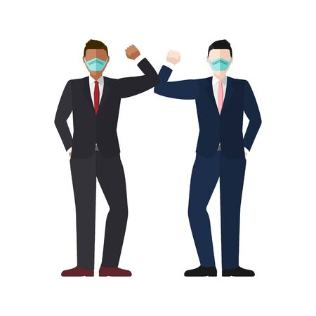 Elbow bump greeting concept vector of two well dressed businessmen wearing masks with copy space for COVID-19 coronavirus prevention  イラスト・ベクター素材