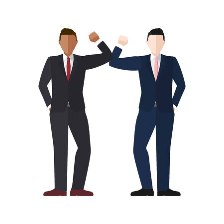 Elbow bump greeting concept vector of two well dressed businessmen for COVID-19 coronavirus prevention  イラスト・ベクター素材