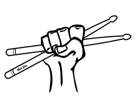 Drumsticks in hand vector for rock star or rock band concept