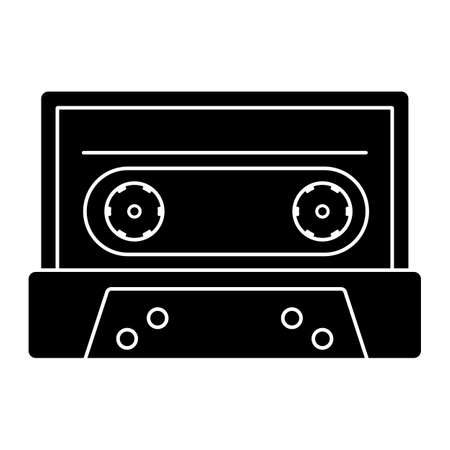 Retro cassette tape for playing music vector