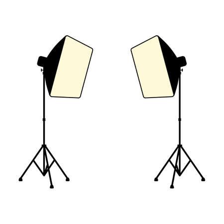 Studio lighting equipment softbox on a stand vector Ilustracja