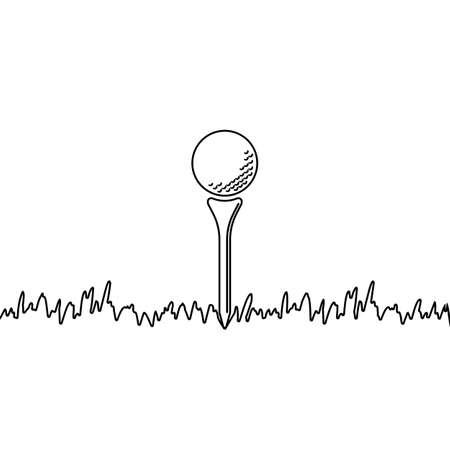 Golf ball sitting on golf tee on grass in vector Ilustração