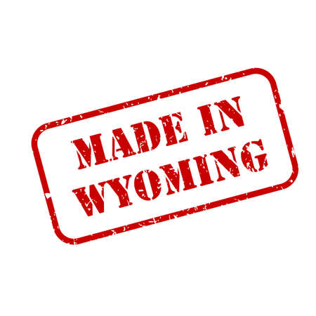 Made in Wyoming state sign in rubber stamp style vector Illusztráció