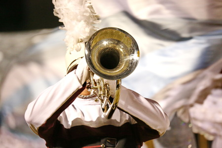 trumpet player: Marching Band Trumpet Player Stock Photo