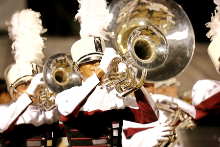 trumpet player: Marching band Stock Photo