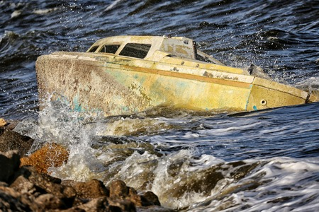 ship wreck: Sunken Boat