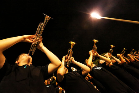 marching band: Trumpet Players - Marching Band Stock Photo