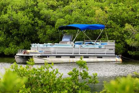 boat: Pontoon Boat Stock Photo