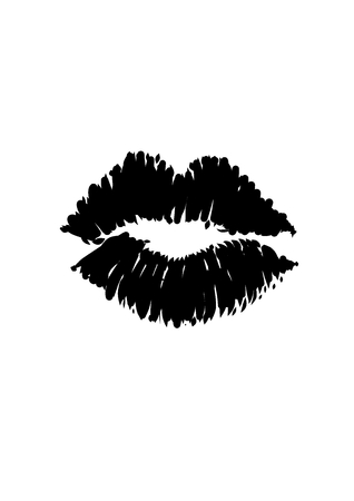 lipstick kiss: Kiss Lipstick Smudge Vector Lips  Illustration