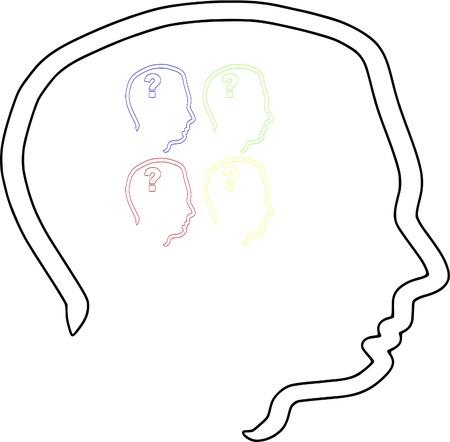 cognicion: Cabeza con colores de cognici�n 4 jefes de psicolog�a de signo de interrogaci�n