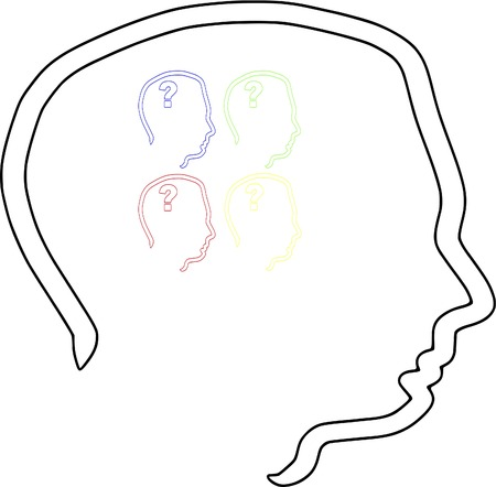 cognition: Head with Question Mark Psychology Cognition 4 Heads Colors