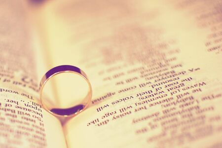 Vintage Look Stylized Wedding Rings on a Bible Stock Photo - 8018305