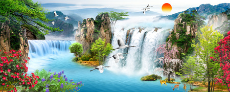 Landscape illustration - waterfall, forest, mountains, flying birds Banco de Imagens