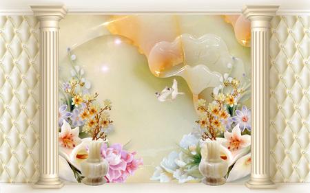3d illustration, abstract background, flowers, birds, columns, vases