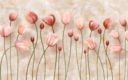 Delicate marble background with long claret tulips Stok Fotoğraf