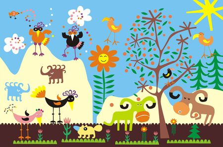Illustration for the children's room - a flat colorful children's picture, imitation of application with colored paper. Funny birds, animals, flowers, the sun, trees, the sky and clouds Stockfoto - 126191039