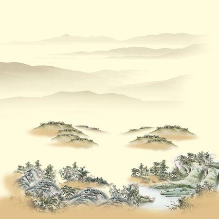 Landscape background, wooded hills in the fog Banco de Imagens