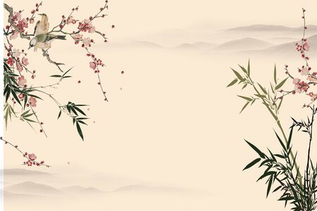 Beige background, hills in the fog, bushes blooming with pink flowers, two birds sitting on a branch