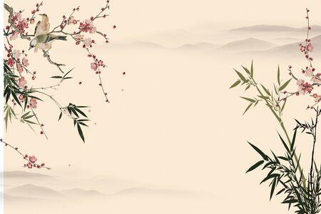 Fond beige, collines dans le brouillard, buissons fleuris de fleurs roses, deux oiseaux assis sur une branche