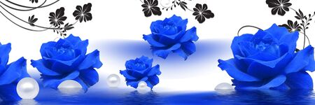 3d illustration, large blue roses, reflected in water, white pearls